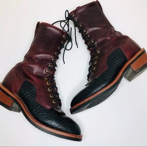RARE Tony Lama Mid Calf Lace-Up Leather Boots 9.5
